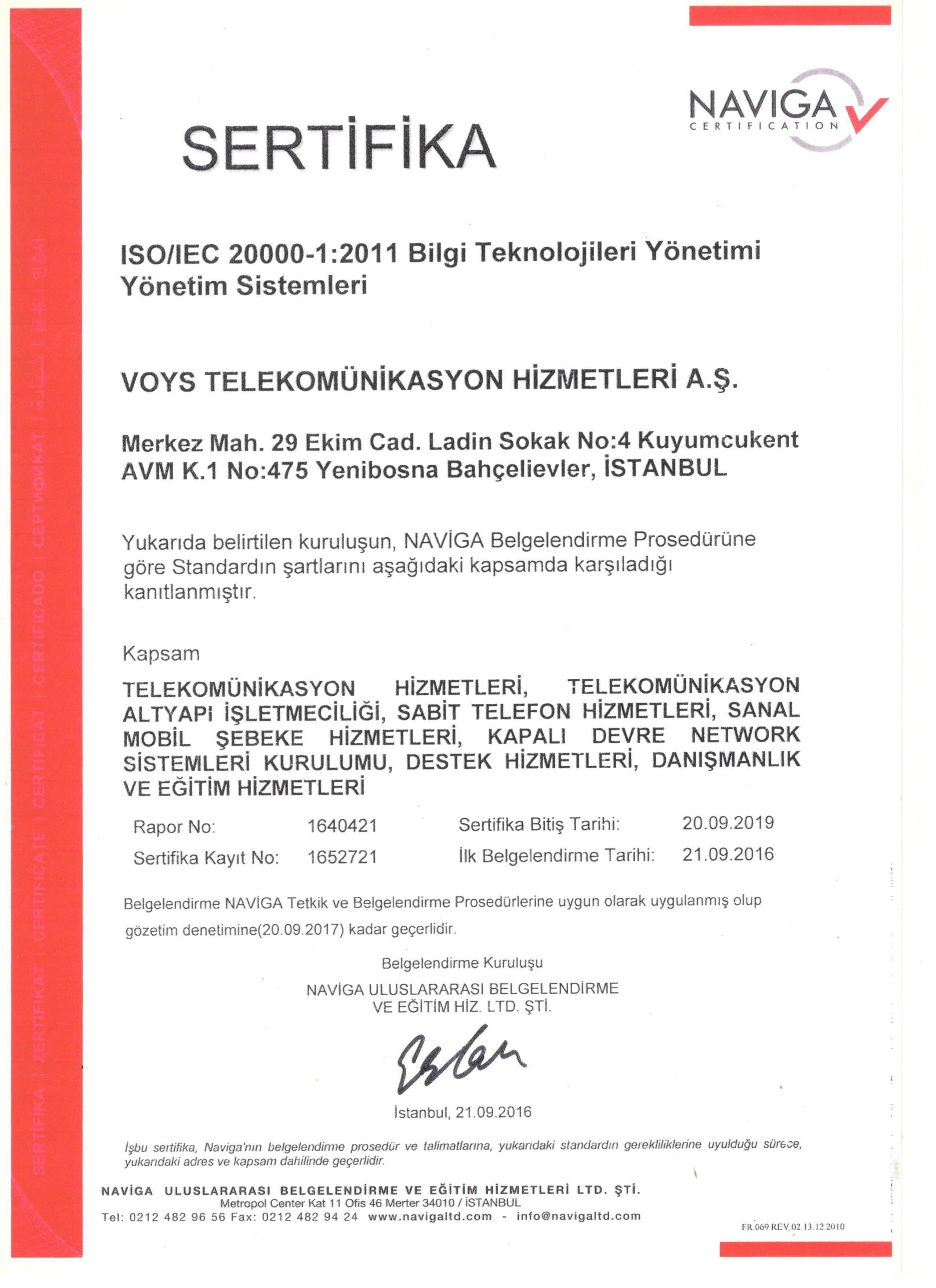 Bilgi Teknolojileri Kurumu -BTK- Yönetim Sistemleri Sertifikası
